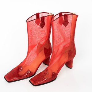 Shoes - Red half cowboy flare boots - 10M